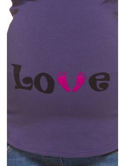 Maternity long sleeve Love feet purple
