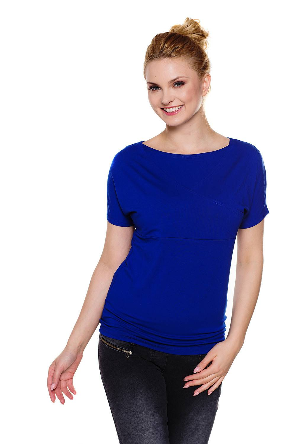 Nursing wrap top royal blue - Maternity top