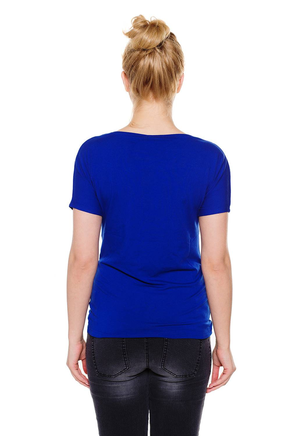 Wrap nursing top royal blue - Maternity top