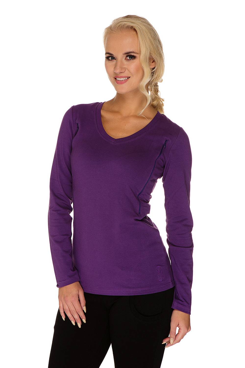 Maternity nursing long sleeve top purple